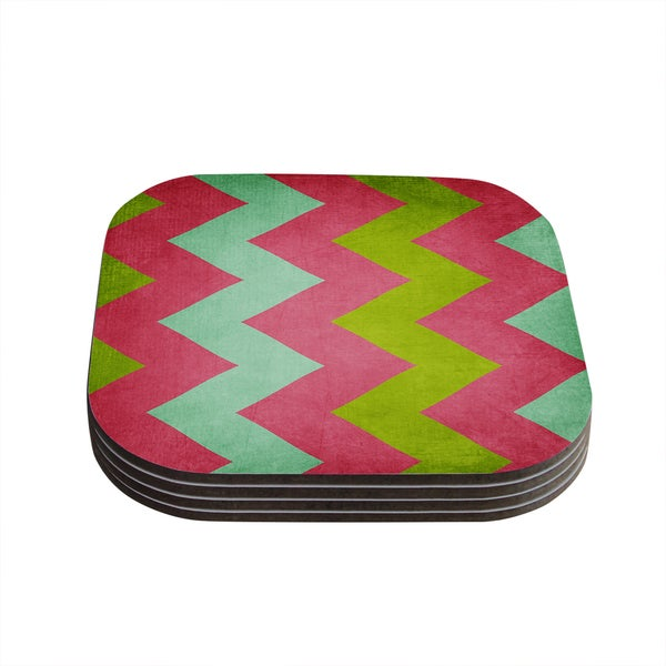 Kess InHouse KESS InHouse Cocktails With Lilly Blue, Green and Pink Wood Coasters (Set of 4)