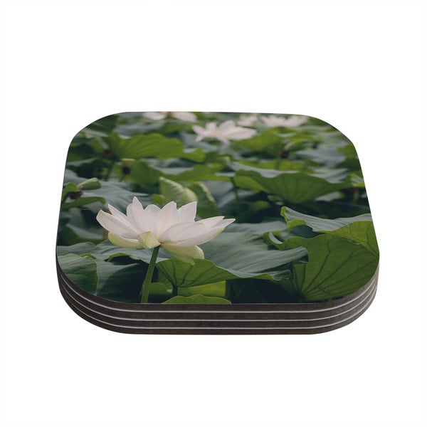 Kess InHouse Catherine McDonald 'White Lotus' Green White Coasters (Set of 4)