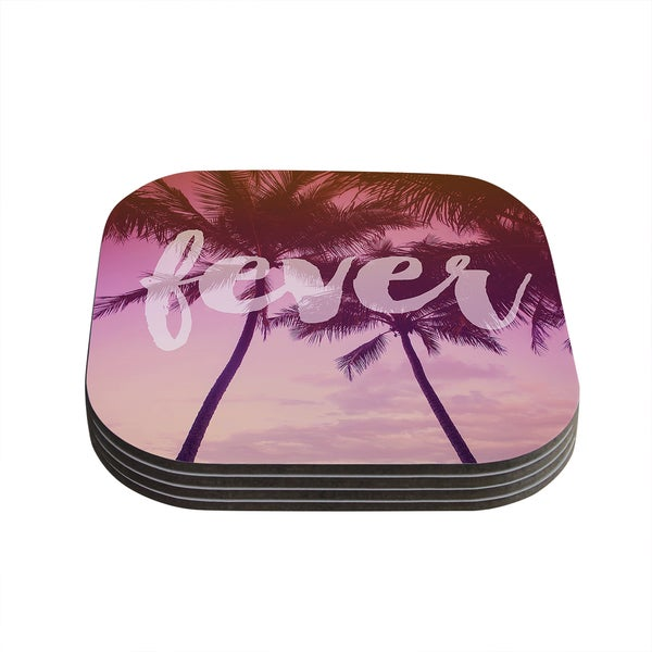 Kess InHouse Catherine McDonald 'Fever' Pink/Red Coasters (Set of 4)