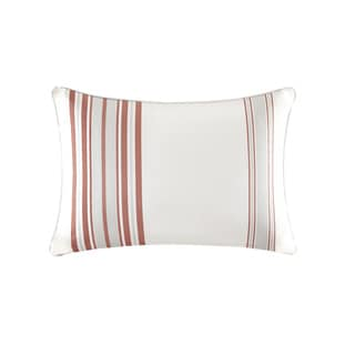 Madison Park Bolinas Coral/White Printed Stripe 3M Scotchgard Indoor/Outdoor Pillow
