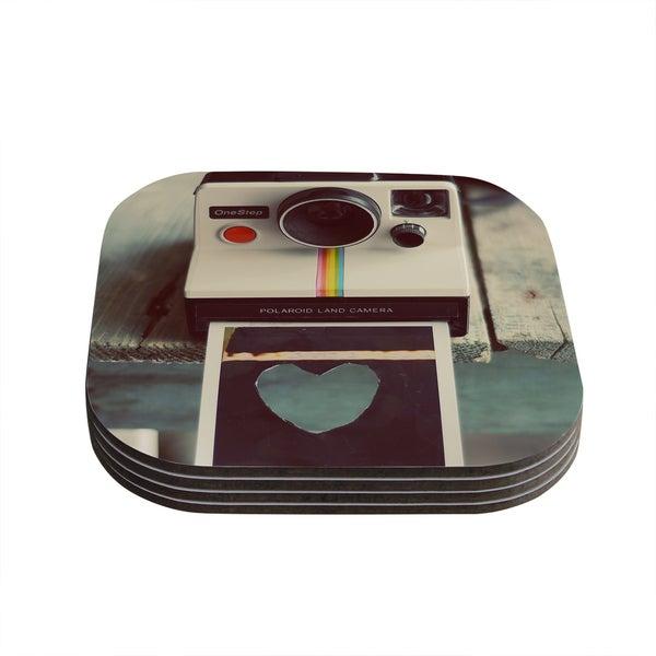 Kess InHouse Cristina Mitchell 'Polaroid Love' Teal Camera Coasters (Set of 4)
