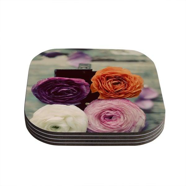 Kess InHouse Cristina Mitchell 'Four Kinds of Beauty' Roses Coasters (Set of 4)