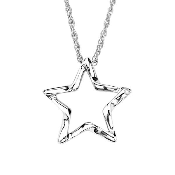 Sterling Silver Diamond Accent Open Star Pendant