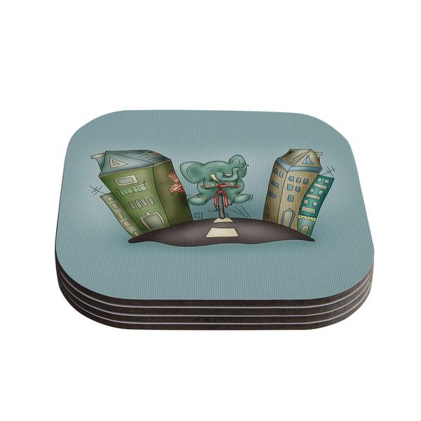 Kess InHouse Carina Povarchik 'Life is Good' Elephant Blue Coasters (Set of 4)