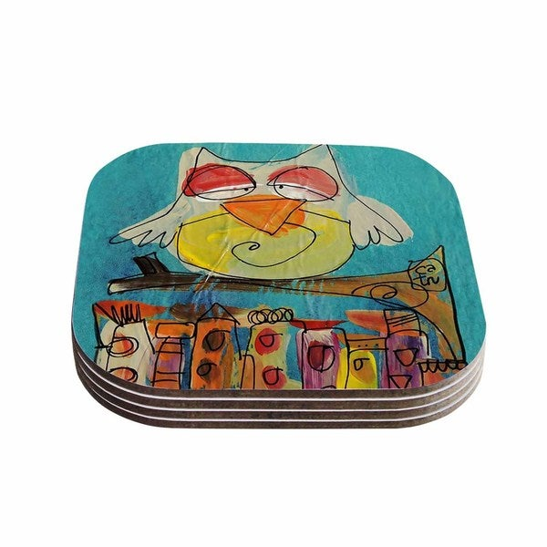 Kess InHouse Carina Povarchik 'Urban Owl Teal ' Teal Kids Coasters (Set of 4)