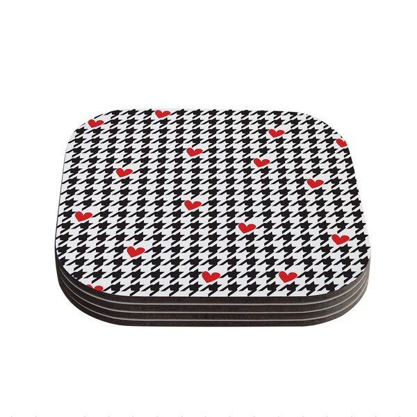 Kess InHouse Empire Ruhl 'Spacey Houndstooth Heart' Coasters (Set of 4)