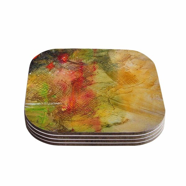 Kess InHouse Carol Schiff 'Poppyfield' Yellow Green Coasters (Set of 4)