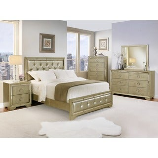 Abbyson Living Valentino Mirrored and Leather Tufted 6-piece California King-size Bedroom Set