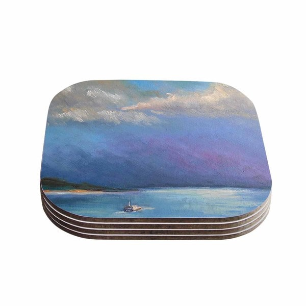 Kess InHouse Carol Schiff 'Heading Out' Blue Nature Coasters (Set of 4)