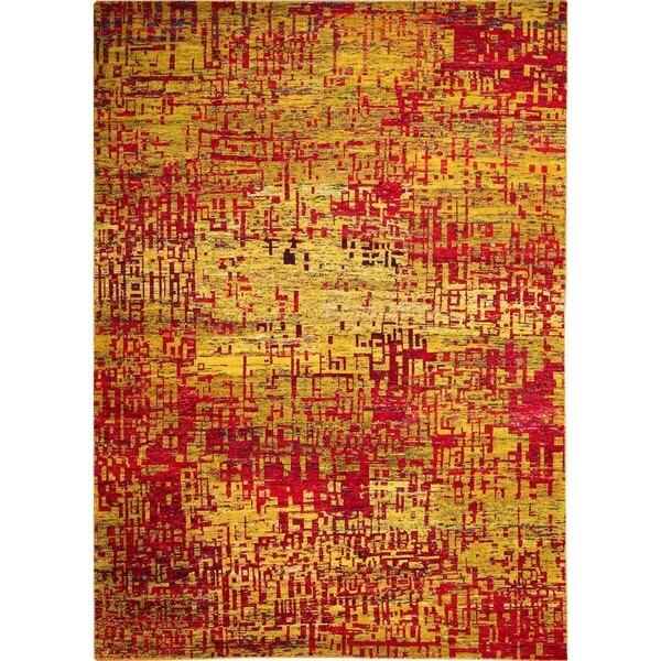 Sari Silk Darwin Gold Viscose Hand-knotted Rug, (8'11 x 12'2)