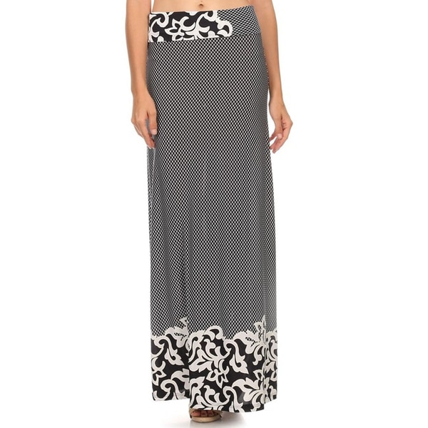 MOA Collection Women's Paisley Print Border Maxi Skirt