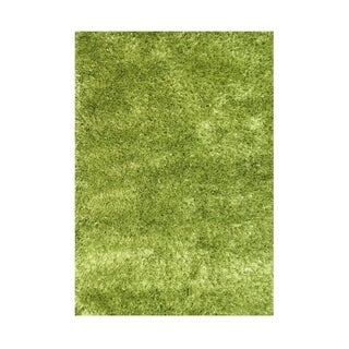 Alliyah Hand Made Green Art-Silk Shaggy Rug 5x8