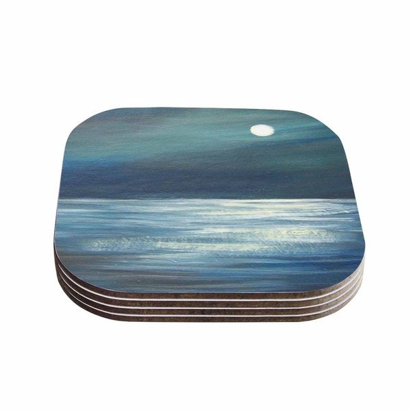 Kess InHouse Cyndi Steen 'A Walk In The Moonlight' Blue White Coasters (Set of 4)
