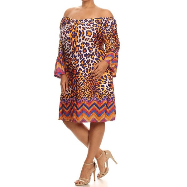 MOA Collection Multicolor Polyester/Spandex Plus-size Bright Animal Print Dress