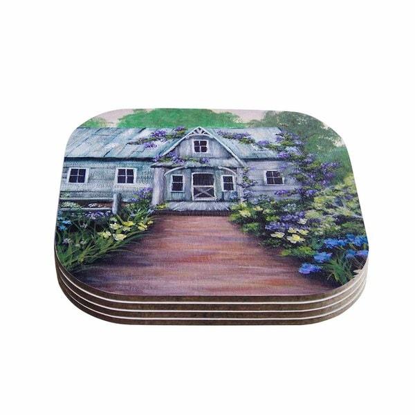 Kess InHouse Cyndi Steen 'Ivy Cottage Again' Gray Purple Coasters (Set of 4)