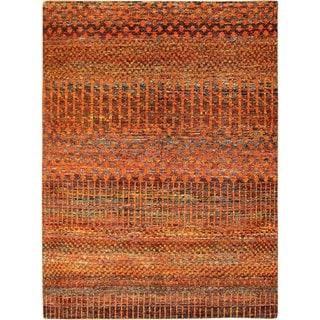 Sari Silk Brock Rust Hand-knotted Rug (5'5 x 7'9)