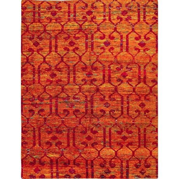 Sari Silk Eduardo Rust Hand-knotted Rug, (7'9 x 9'7)