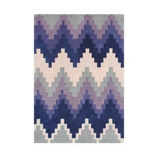 Alliyah Geo-Chevron Blue/Ivory/Purple Wool Area Rug (5' x 8')