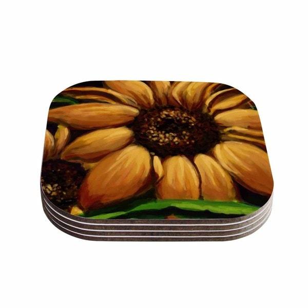 Kess InHouse Cyndi Steen 'Sunflower Days' Yellow Floral Coasters (Set of 4)