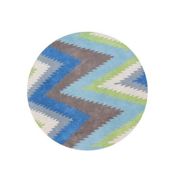 Alliyah Geometric Thunderbolt Lamb's Wool Handmade Round Area Rug (6') 18587374