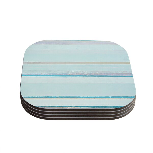 Kess InHouse CarolLynn Tice 'Cost' Blue Aqua Coasters (Set of 4)