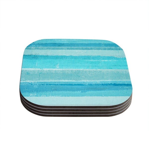 Kess InHouse CarolLynn Tice 'Sand Bar' Teal Blue Coasters (Set of 4)