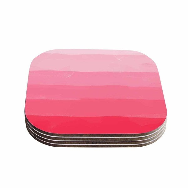 Kess InHouse Chelsea Victoria 'Pink Ombre Layer Cake' Pink Stripes Coasters (Set of 4)