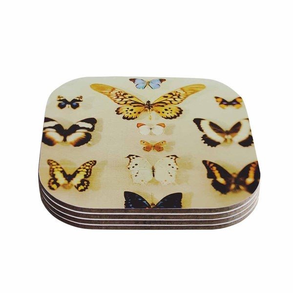 Kess InHouse Chelsea Victoria 'The Butterfly Collection' Photography Blue Coasters (Set of 4)