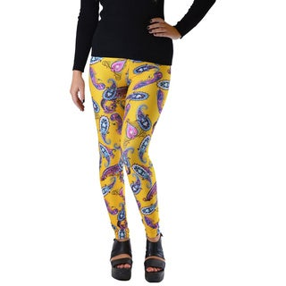 Women's Yellow Paisley Multicolor Microfiber Spandex Plus Size Leggings
