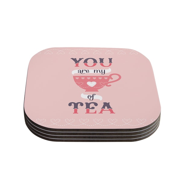 Kess InHouse Daisy Beatrice 'My Cup of Tea' Pink Purple Coasters (Set of 4)
