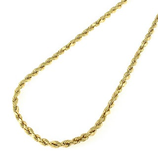 14k Yellow Gold 1.5 mm Solid Rope Diamond-Cut Chain Necklace