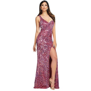 Mac Duggal Glam Pink Fully Sequined Cut Out Back Prom Evening Gown Dress