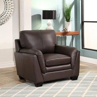 Abbyson Living Bella Brown Top-grain Leather Arm Chair
