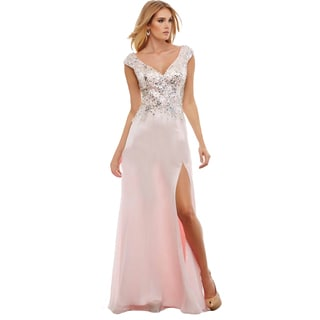 Mac Duggal Embellished Pink Illusion Cutout Open Back Prom Evening Gown Dress Size 4