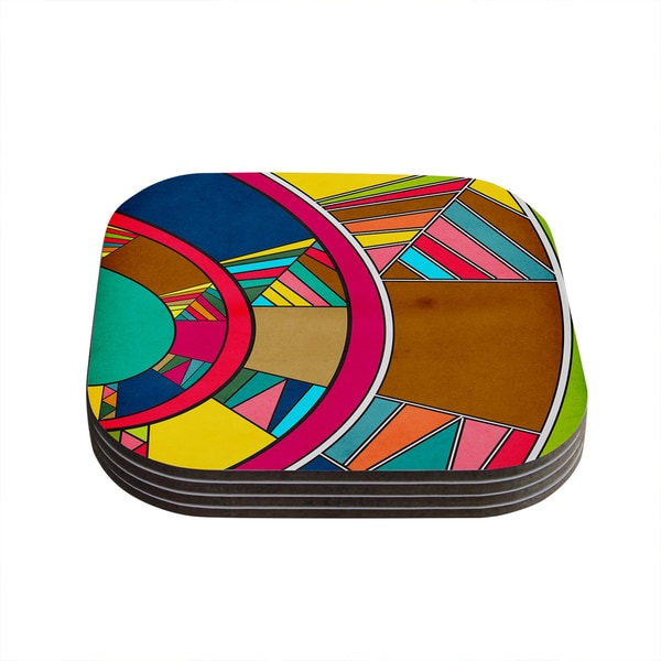 Kess InHouse Danny Ivan 'Lov Pattern' Multi-color Wooden Coasters (Pack of 4)