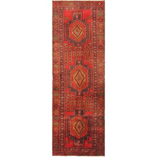ecarpetgallery Hand-knotted Meshkin Blue and Red Wool Rug (4' x 12'7)