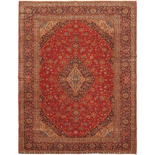ecarpetgallery Hand-knotted Kashan Red Wool Rug (10' x 12'7)