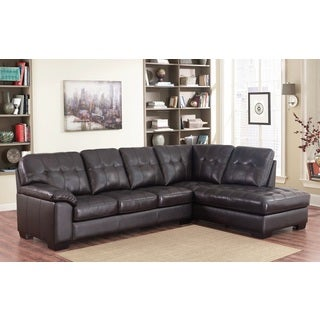 Abbyson Living Manhattan Espresso Top Grain Leather Sectional