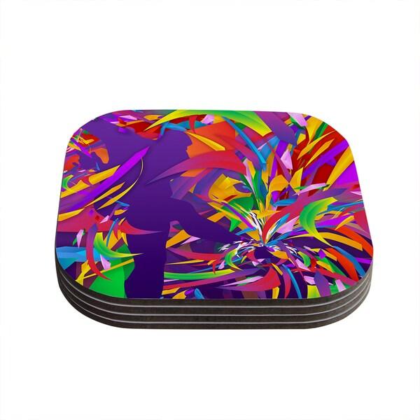 Kess InHouse Danny Ivan 'Shooting' Rainbow Purple Coasters (Set of 4)