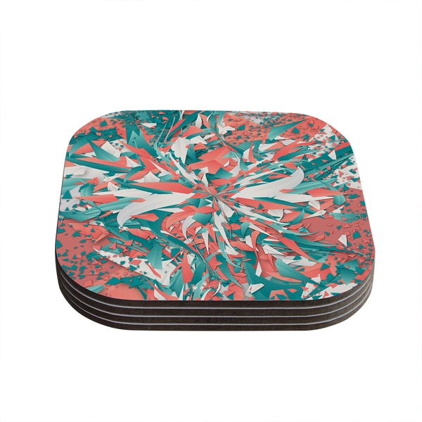 Kess InHouse Danny Ivan 'Like Explosion' Pink Teal Coasters (Set of 4)