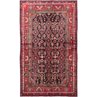 ecarpetgallery Hand-knotted Persian Hamadan Blue and Red Wool Rug (4'2 x 7')