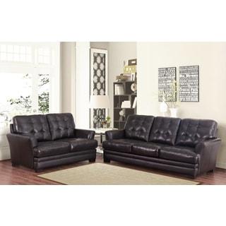 Abbyson Living Divani Top Grain Leather Sofa and Loveseat