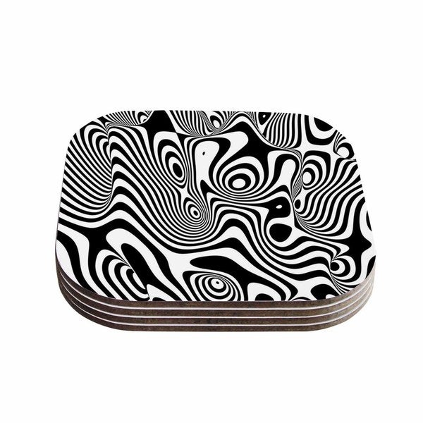 Kess InHouse Danny Ivan 'Trippy' Black White Coasters (Set of 4)
