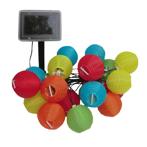 Smart Solar 3711MR20 20 LED Solar Chinese Lantern String Lights Assorted Colors