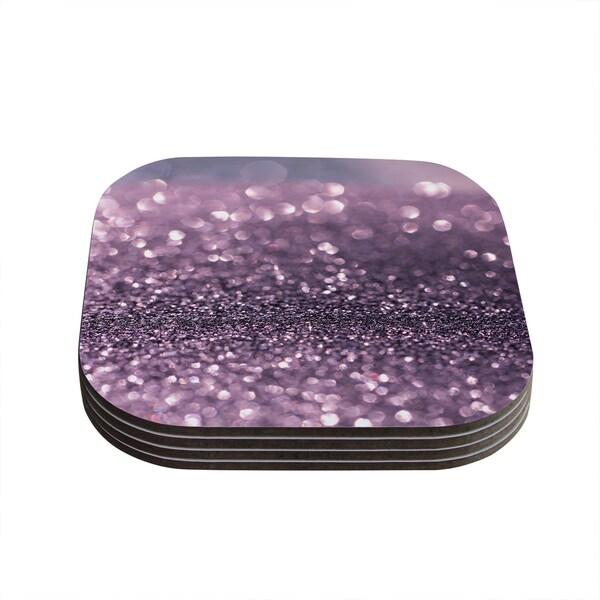 Kess InHouse Debbra Obertanec 'Lavender Sparkle' Purple Glitter Coasters (Set of 4)