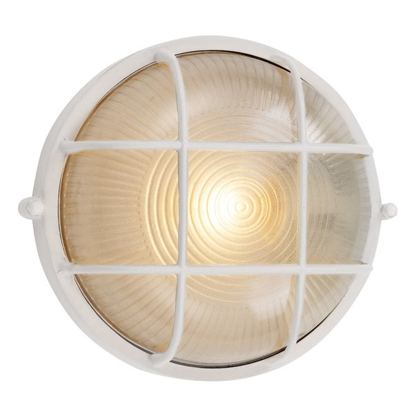 "Bel Air Lighting CB-41505-WH 8"" White Round Bulkhead Light Fixture"