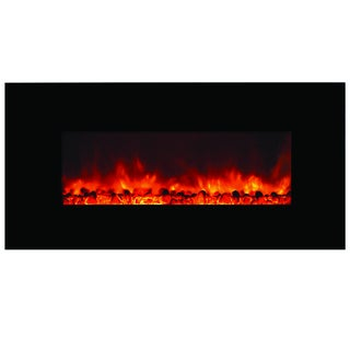 Romancer Electric Black Finish Wall Mounted Electric Fireplace with Thermostat Controlled Heater