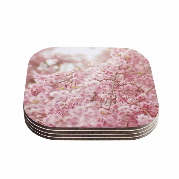 Kess InHouse Debbra Obertanec 'Spring Pinks' Floral Digital Coasters (Set of 4)