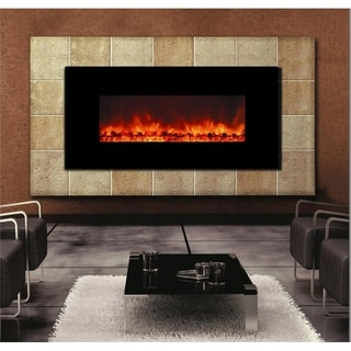 Enhancer Wall-mounted Electric Fireplace with Marble Frame and Remote Control with Realistic Flames