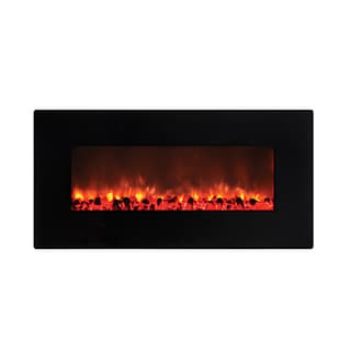Little Heater Wall-mounted Electric Fireplace with Remote Controlled Heater Black Finish